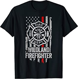 American Flag Firefighter Red Thin Line Wildland Firefighter T-Shirt