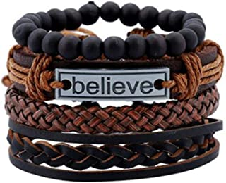 VBTY Collection Bangle, Classic Bracelet Vintage Tribal Wood Beads Bracelet Bracelet Cuff Men Leather Braclet Femme Male Wrist Band Handmade Jewelry