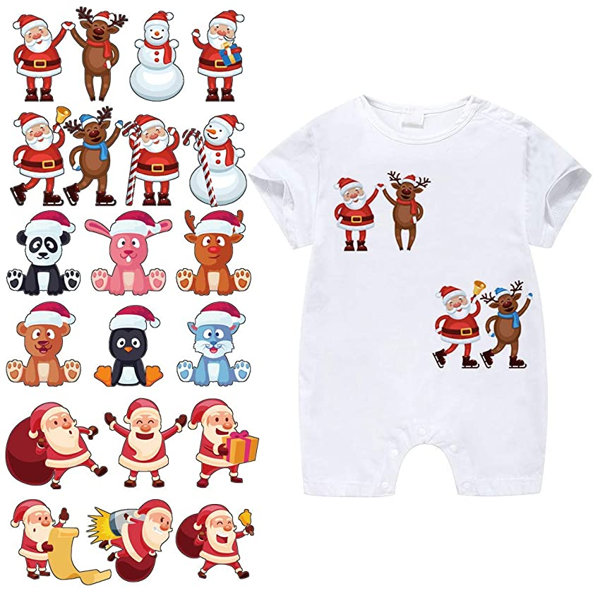 Christmas Patches for Kids Clothes-3 Sets Washable Heat Transfer Iron On Stickers, Appliques with Santa Claus,Snowman,Elk,Animals Patch for DIY T-Shirt,Dress,Bag
