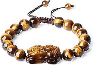 COAI Mens Womens Pixiu Tigers Eye Stone Beaded Bracelet