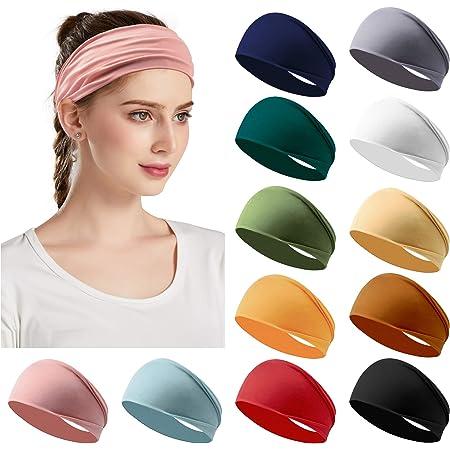 Milifeel Elastic 13 Colors Turban Running Headwrap Headbands Non-Slip Wide Sports Headband Fold Yoga Hairband Stretch Hair Band