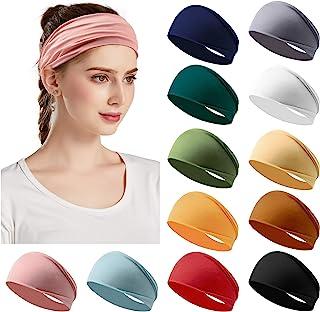 Jesries 12 Pack Women's Headbands Yoga Elastic Hair Bands Workout Running Sport Non Slip Sweat Hair Wrap for Girls