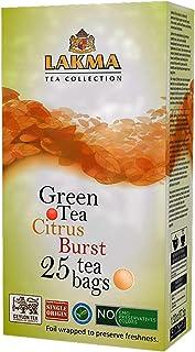 Lakma Fruity Collection Citrus Burst Green Tea Lemon & Orange - 25 Tea Bags (Gmo Free, Gluten Free, Dairy Free, Sugar Free...