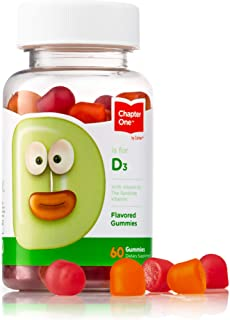 Chapter One Vitamin D3 Gummies, Great Tasting Chewable Vitamin D3 for Kids, Vitamin D3 1000IU, Certified Kosher (60 Flavor...