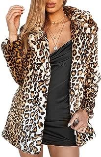 Women Warm Long Sleeve Parka Faux Fur Coat Overcoat Fluffy Top Jacket Leopard (US 8 = Asian L) Brown