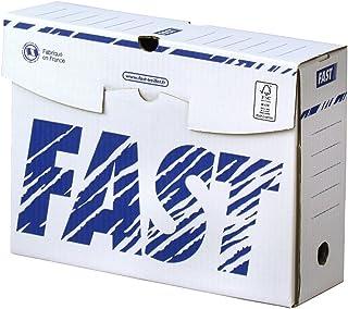 FAST Lot de 5 Boîtes Archive Montage Manuel 250 x 330 mm Dos 10 cm Blanc Bleu
