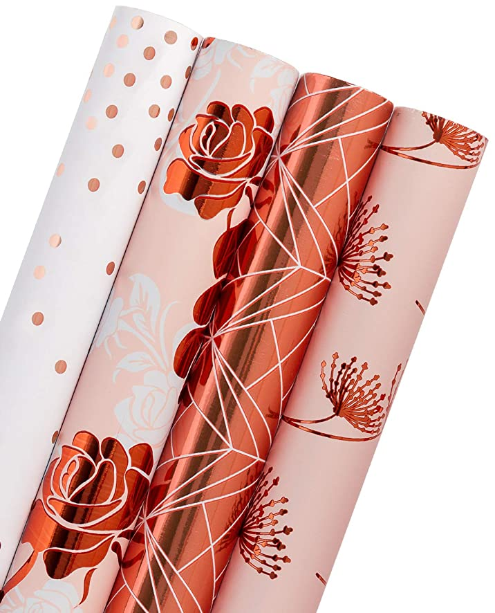 WRAPAHOLIC Gift Wrapping Paper Roll - Rose Gold Floral, Dandelion, Lines and Polka Dots for Wedding, Birthday, Baby Shower Gift Wrap - 4 Rolls - 30 inch X 120 inch Per Roll