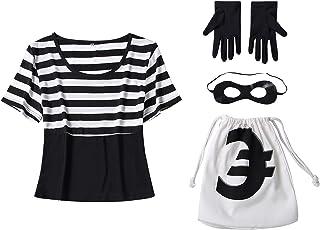 COSAUG Costume da rapinatore di Banca Impostato per Carnevale Femminile,Taglia Small