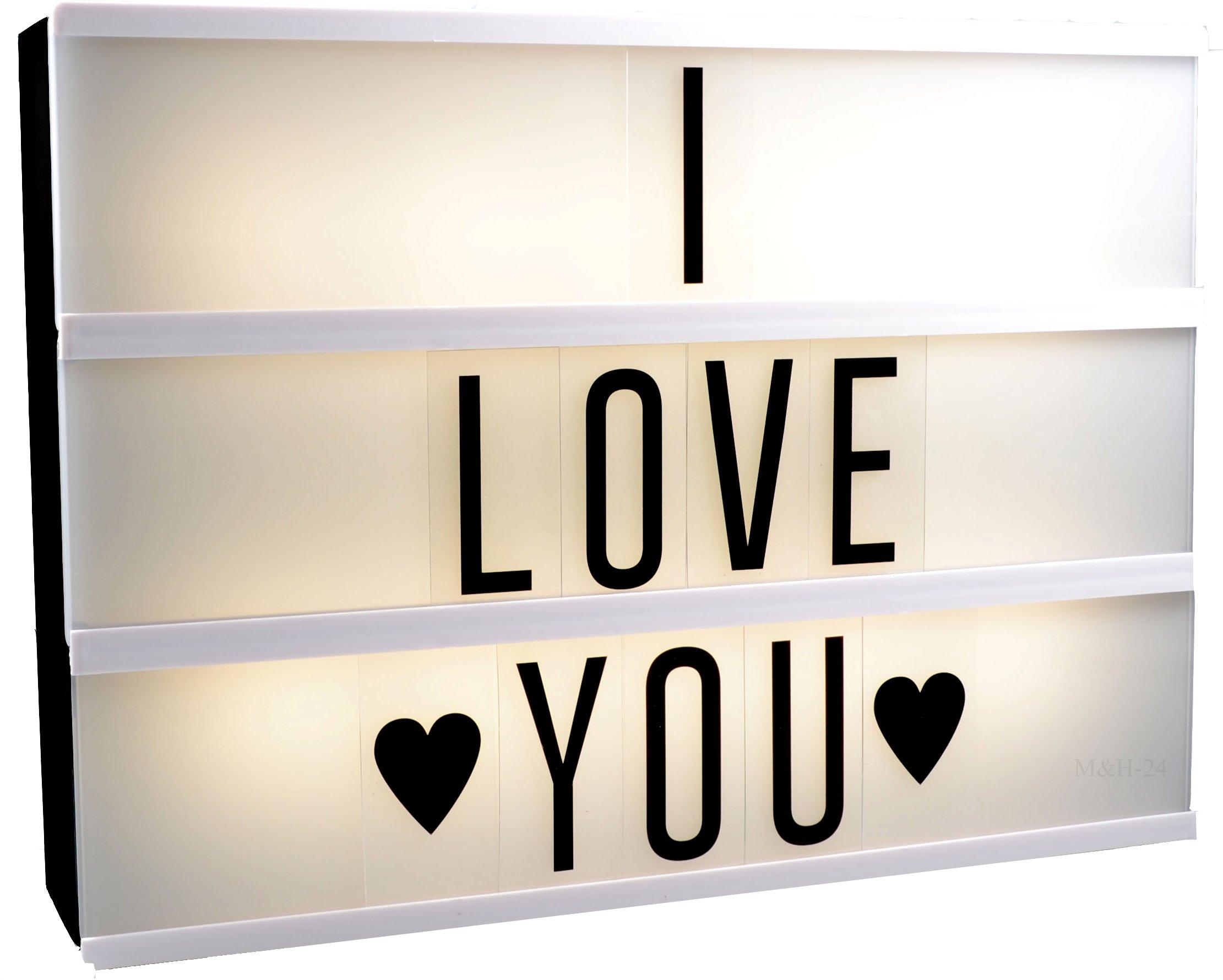 M&H-24 Lightbox - Caja de luz LED con números y letras, de tamaño A4, para publicidad, anuncios, cartel de luz, cine, placa, panel publicitario, color negro: Amazon.es: Iluminación