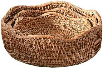 MAHFEI Round Woven Bread Roll Basket, Hand Woven Storage Basket Set Natural Rattan Fruit Basket Pastoral Style Serving Bas...
