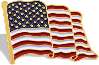 Anley Flag Lapel Pin - Waving US Flag Pins Patriotic American Emblem - Exquisite Enamel & Vivid Color & Lightweight & Durable - 1 Pin and 10 Pins