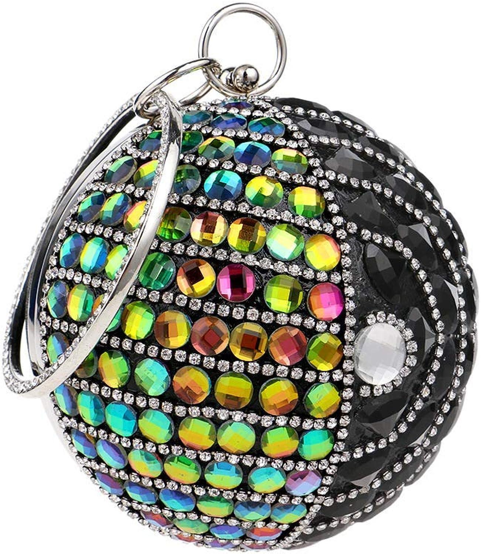 Damen Runde Ball Ball Ball Clutch Sparkly Diamant Abendtasche Hochzeit Handtasche Party Prom Handgelenk Tasche Handtaschen für Frauen (Farbe   schwarz, Größe   Diameter12cm) B07QJW81V1  Stilvoll und charmant d3c4cc