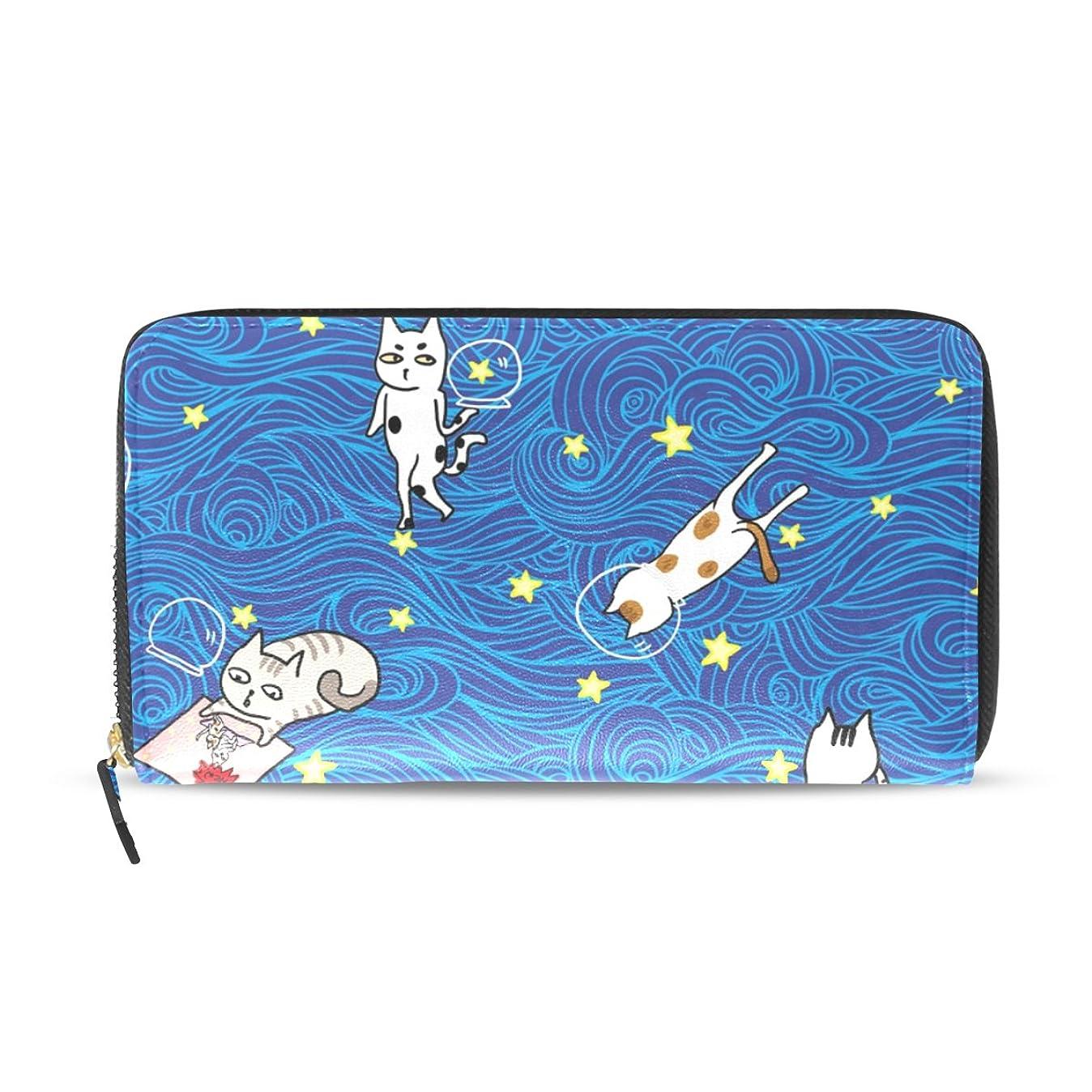 殺人者意見ふさわしいマキク(MAKIKU) 長財布 レディース 大容量 革 レザー ラウンドファスナー おしゃれ かわいい 猫柄 ブルー 白猫 カード12枚収納 プレゼント対応