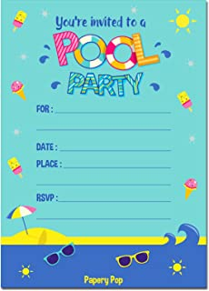 30 Pool Party Invitations with Envelopes (30 Pack) - Kids Birthday Invitations for Boys or Girls