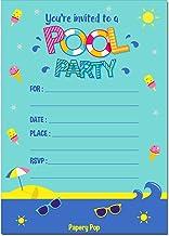 Papery Pop 30 Invitaciones de Fiesta de Piscina con Sobres (30 Unidades) – Invitaciones de cumpleaños para niños o niñas