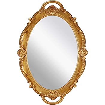 Amazon Com Omiro Decorative Wall Mirror Vintage Carved Hanging Mirrors For Bedroom Living Room Dresser Decor Oval Antique Gold 10 W X 15 L Home Kitchen