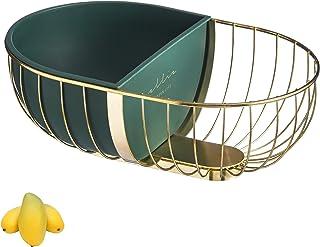 Panier à fruits multifonction en fer doré, boîte intérieure amovible, bol de stockage de fruits, légumes, pain, bonbons, doré