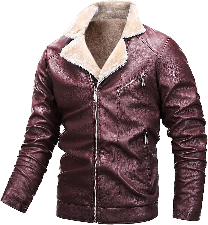 Jacket for Men's Leather Coat Fashion Warm Plush Lapel Zipper Plus Size Faux Leather Motorcycle Bomber Outwear