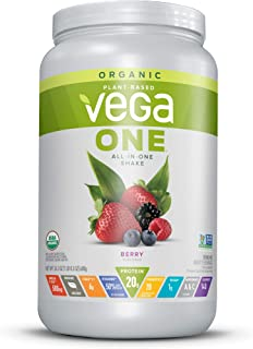 Vega One Organic Meal Replacement Plant Based Protein Powder, Berry - Vegan, Vegetarian, Gluten Free, Dairy Free with Vitamins, Minerals, Antioxidants and Probiotics (18 Servings, 1lb 8.3 Oz)