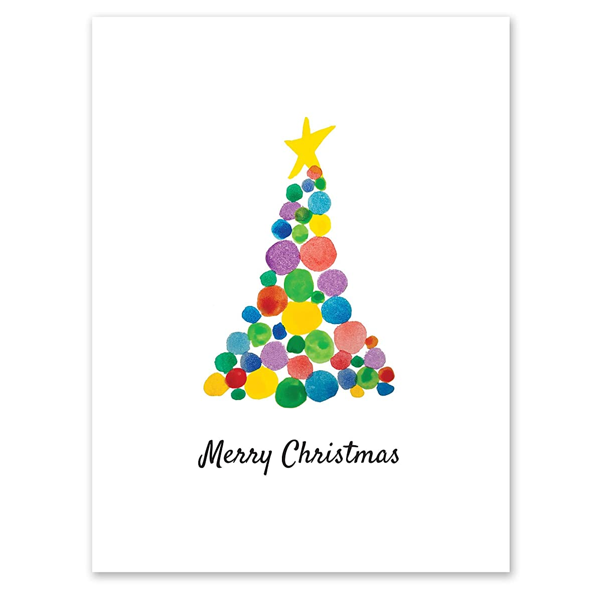 Rainbow Tree Personalized Christmas Greeting Cards – 4? inches x 5? inches, Heavyweight Stock, Matching Envelopes, (Set of 20), by Fine Stationery