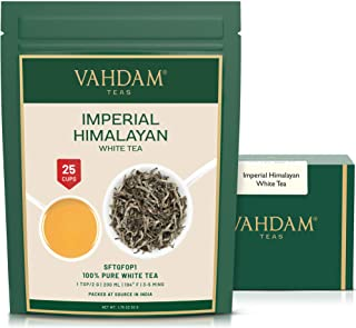 VAHDAM, Imperial White Tea Leaves from Himalayas (25 Cups) - World's Healthiest Tea Type - POWERFUL ANTI-OXIDANTS, High El...