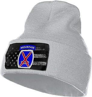 USA Flags 10th Mountain Division Men Plain Beanie Hat Skull Cap Knit Cuff Hat