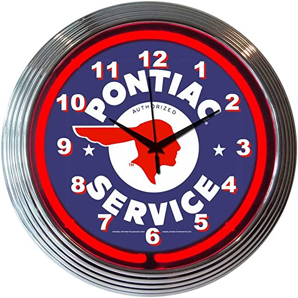 Neonetics Home Indoor Restaurant Kitchen Decorative Gm Pontiac Service Neon Wall Clock