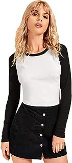 SweatyRocks Women's Color Block Ribbed Knit Raglan Long Sleeve Crop Top T Shirt