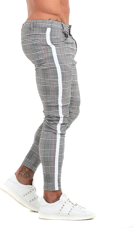 Pantalón Le Paris Chino Ajustados y Elegantes Gris Raya Blanca para Hombre – Chinos de Cuadros Gris elásticos y Ajustado. Pantalones de Vestir de Ajuste Cintura a Tobillos