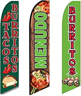 3 Swooper Flags Welcome Mexican Food SALE Tacos Burritos & Menudo Open