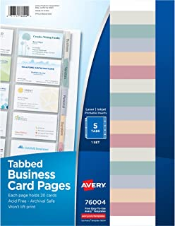 Avery Clear Tabbed Business Card Organizer Pages for 3 Ring Binder, Pack of 5, Holds 100 Cards Total (76004)