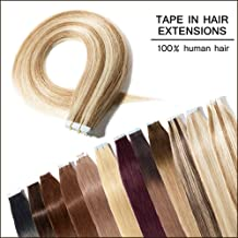 22 inch 100g/40pcs Seamless Skin Weft Tape In Hair Extensions—Golden Brown mixed Bleach Blonde #12&613—100% Straight Unprocessed Virgin Remy Human Hair Professional Tape on +20pcs Free Tapes