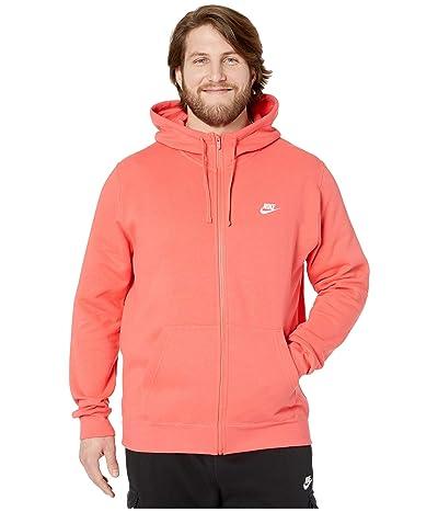 Nike Big Tall NSW Club Hoodie Full Zip (Ember Glow/Ember Glow/White) Men