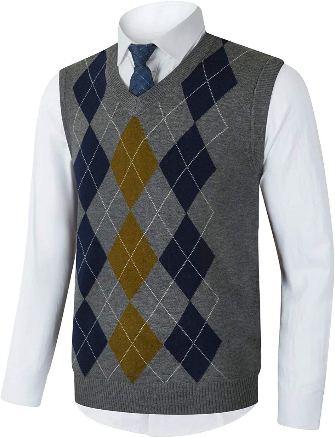 Dallas Mall Yingqible Mens Casual Knitwear V-Neck Slim Spring new work one after another Fit Sleeveless Argyle