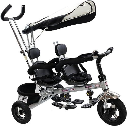 GOPLUS Dreirad Kinderdreirad Kinderwagen Doppelkinderwagen Kinderfahrrad 2 Sitze für Geschwister Zwillinge Schwarz