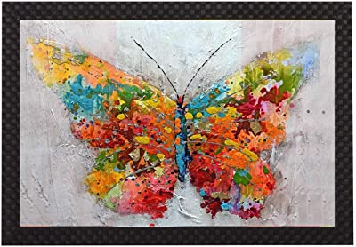 Saumic Craft Butter Fly Modern Art UV Coated Framed Painting for Home Decoration and Gifting [14 inch X 20 inch]