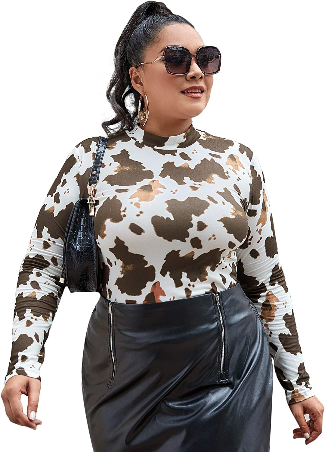 SheIn Women's Mock Neck Long Sleeve Fitted Graphic Print T-Shirt Tee Tops