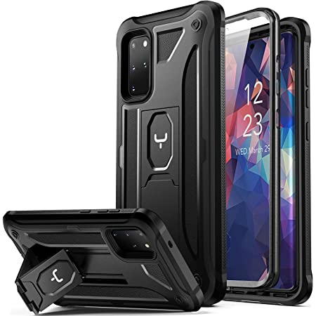 YOUMAKER Designed for Samsung Galaxy S20 Plus Case with Built-in Screen Protector Full Body Heavy Duty Shockproof Kickstand Cover for Galaxy S20+ Plus 5G 6.7 inch - Black