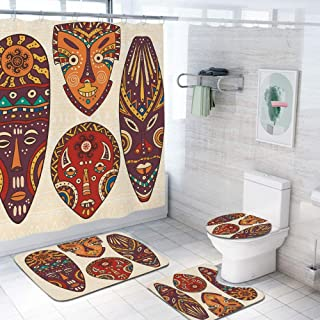 Tiki Bar Decor 60x70 inch Shower Curtain Sets,Decorative Mask Designs African Aborigine Art Patterns Cultural Ethnic Print Decorative Toilet Pad Cover Bath Mat Shower Curtain Set 4 pcs Set,Multicolor