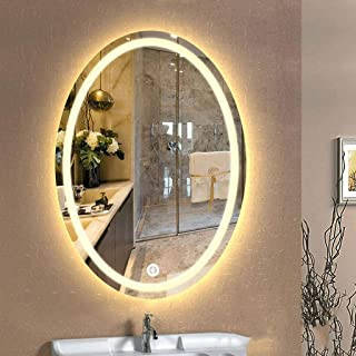 LED Illuminated Bathroom Mirror Oval Makeup Shaving Mirror Waterproof Wall Mirror with Defogging Touch Switch 5CD1 (Color : White Light, Size : 500 * 700mm)