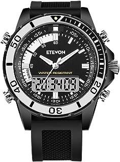 ETEVON Men's 'Truck' Analog Digital Military Sport Watch, Large Display Water Resistant Multifunction LED Light Alarm Calendar Fashion Army Outdoor Black