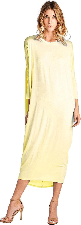 12 Ami Solid Long Sleeve Coverup Maxi Dress Yellow Medium