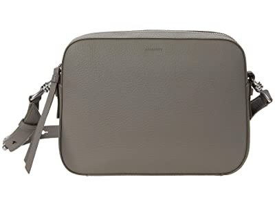 AllSaints Captain Leather SQ Crossbody (Storm Grey) Handbags