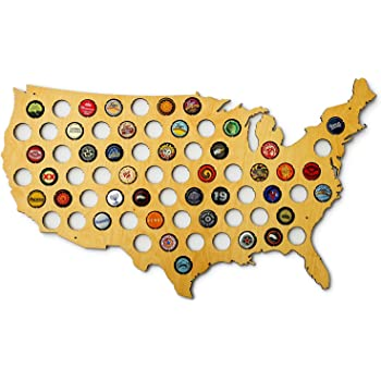 USA Beer Cap Map - Skyline Workshop - beautiful maple wood - Beer Cap Holder - Made in the USA! - great Christmas gift!