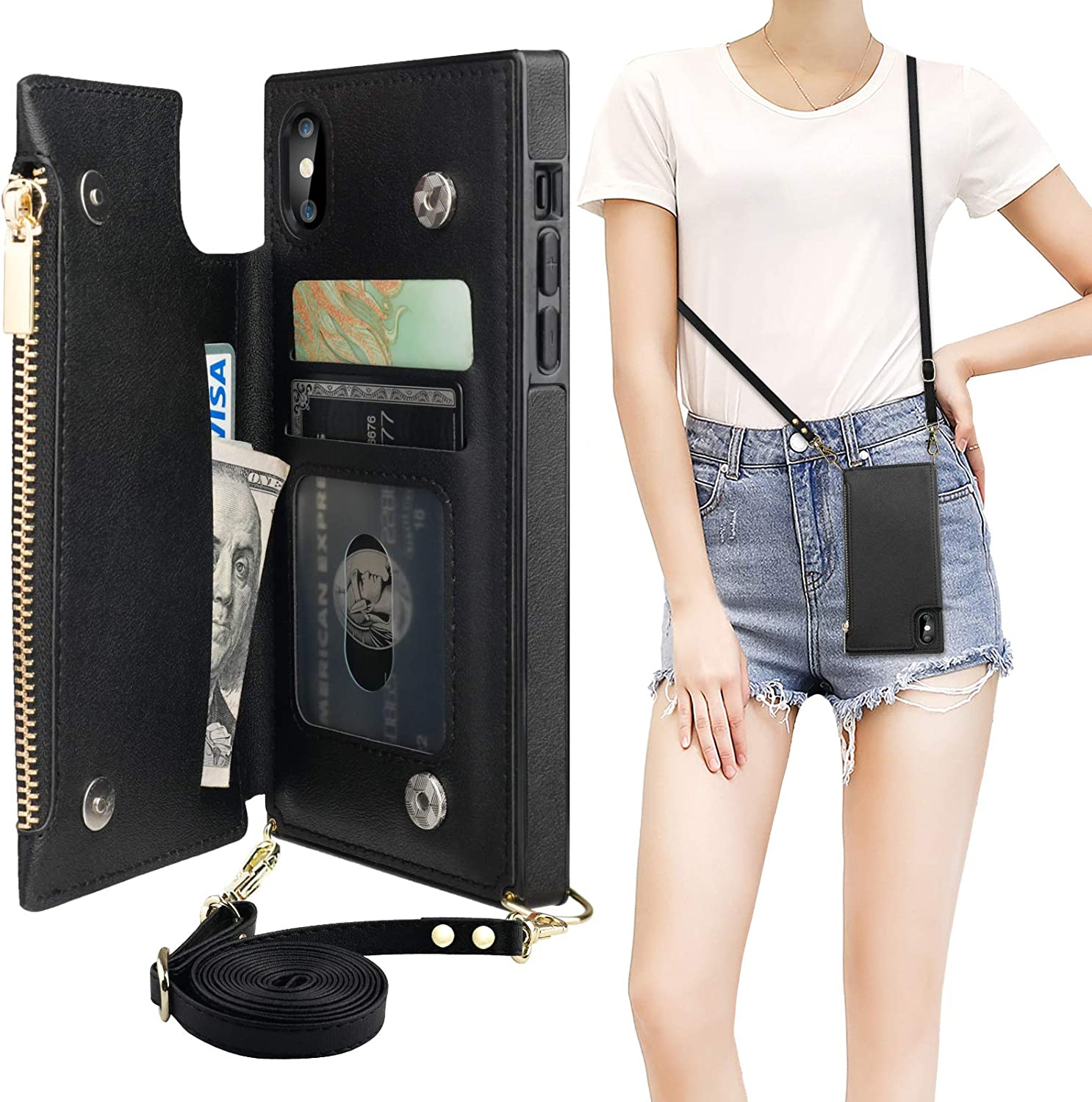 Bocasal Crossbody Wallet Case Cheap mail order specialty store for 100% quality warranty! iPhone X Xs with Card Holder Z