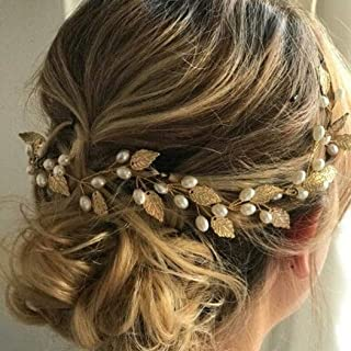 Unicra Wedding Leaf Hair Vine Bridal Pearl Headpiece Headbands Gold Hair Accessories for Brides and Bridesmaids(15.75inches)