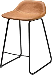 Cortesi Home Ava Counterstools in Saddle Brown faux Leather, 25