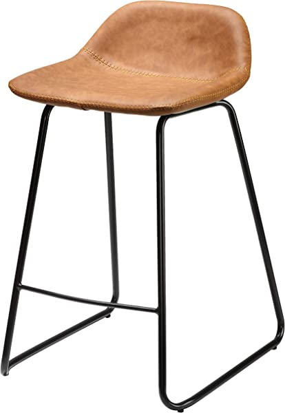 Cortesi Home CH CS624959 Ava Counterstools In Saddle Brown Faux Leather 25 High