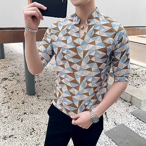 MKDLJY Homme Chemises 2019 Chandail à col Droit pour Hommes Impression Chemises de Loisirs Manches Courtes col en V hauts Slim Fit Décontracté Homme Chemise Sociale