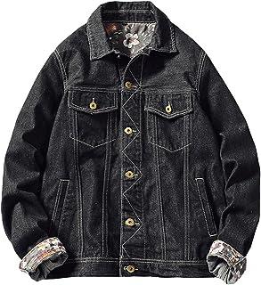 Wolfmen デニムジャケット Gジャン メンズ ジージャン ブラック M-6XL 綿 花柄 スリム 長袖 大きいサイズ カジュアル きれいめ お洒落 快適 秋